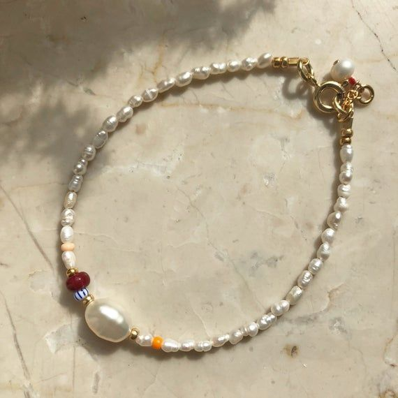 Photo of tela wãve ~ Arm Necklace with mini Freshwater Pearls and Glass Beads in Bordeaux/Orange ~ Seed Beads Bracelet ~ gilded Sterling silver