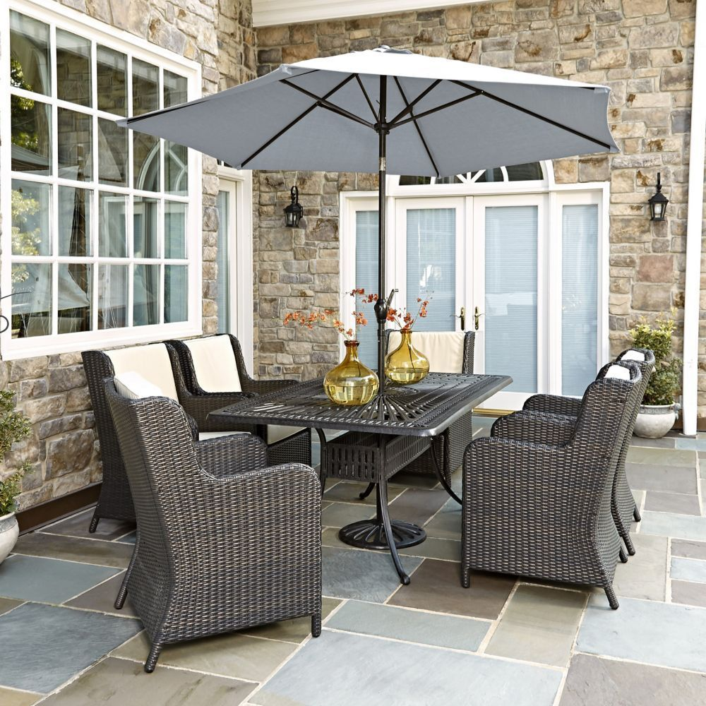 Largo 7Piece patio Dining Set with Riviera Chairs and