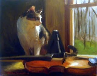 Jonelle Summerfield Oil Paintings: Cat and instruments