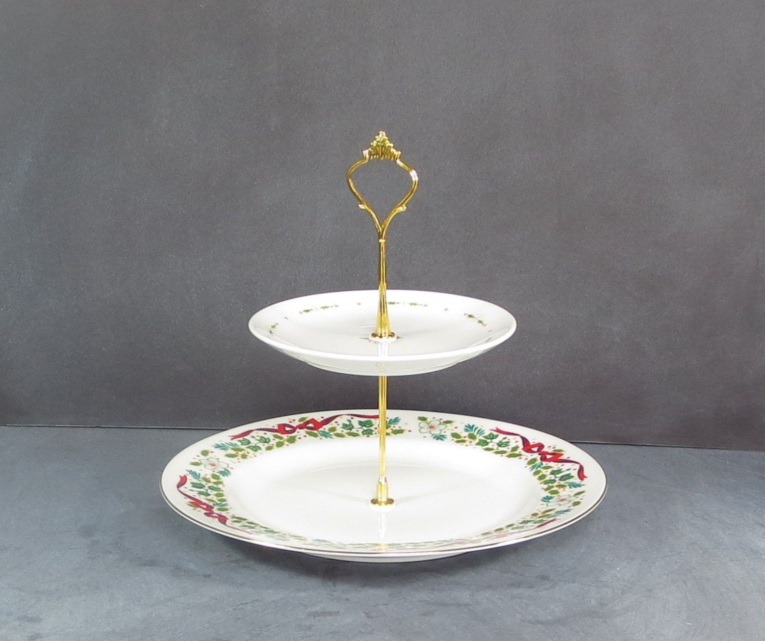 Christmas Cupcake Stand Holiday Cake Stand Red Green Yellow Teal Cookie Plate Housewarming Gift Wedding Gift Christmas Decor Christmas Cake Stand Plate Stands House Warming Gifts