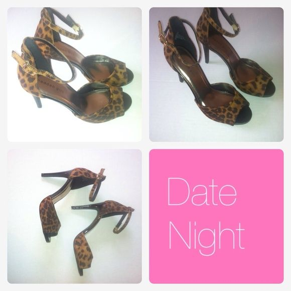 """Chetah Print Stiletto Cute Chetah print stiletto with open tie and ankle strap. This shoe has about a 3"""" heel. This shoe is new, never used. Madden Girl Shoes Heels"""