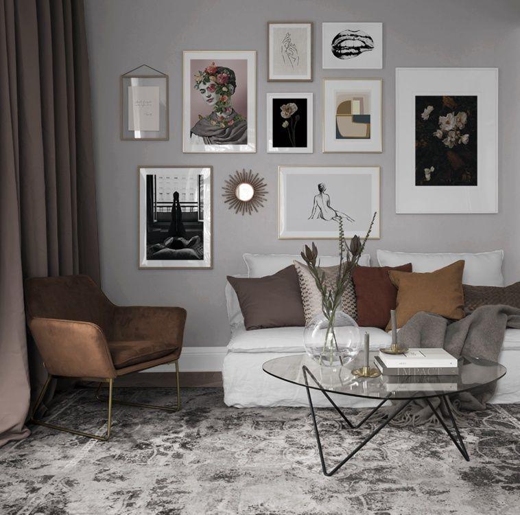 Inspiration Fur Schone Wohnzimmer Bilderwand Mit Postern Desenio