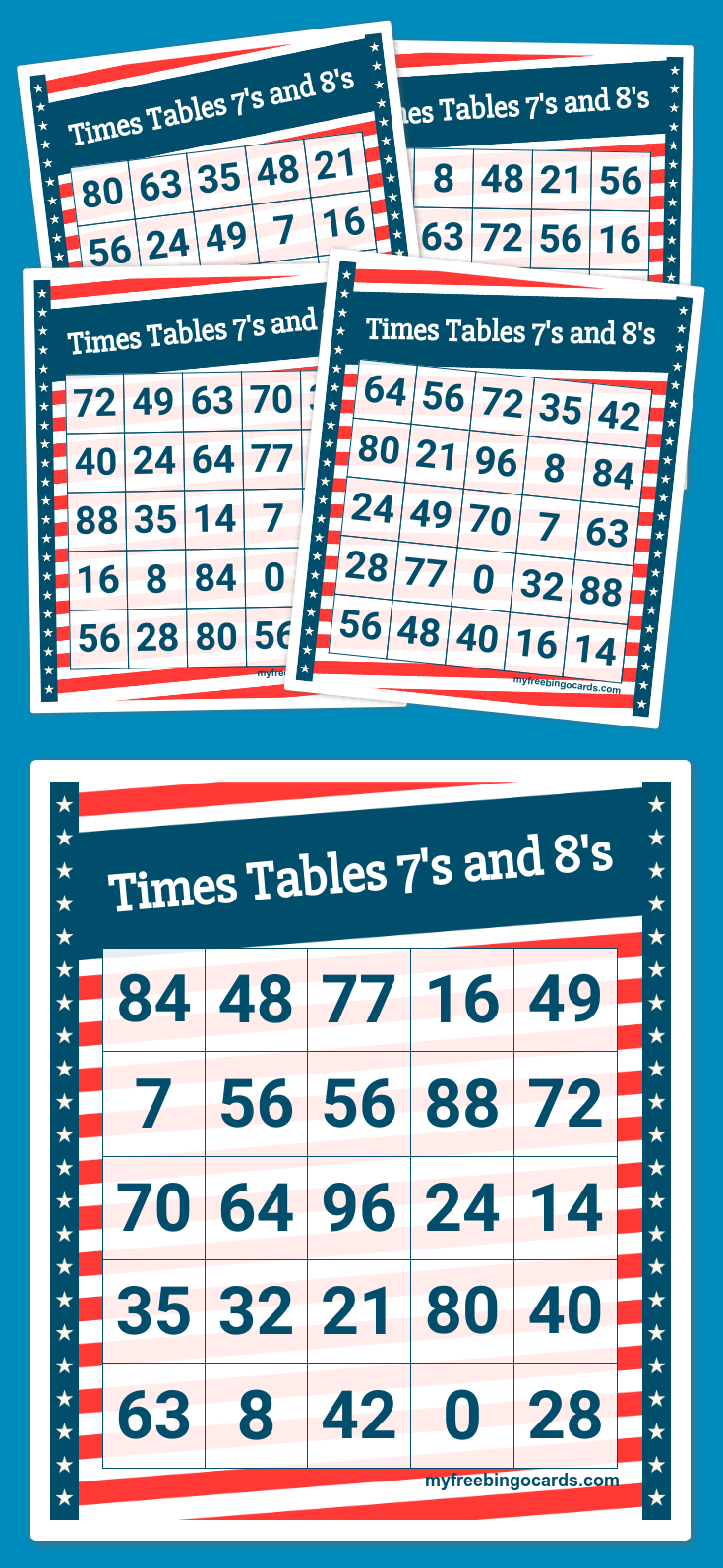 Times Tables 7\'s and 8\'s Bingo | math times tables | Pinterest ...