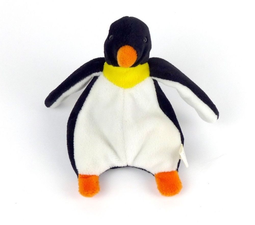 Very Rare PVC 1995 Ty Beanie Baby Waddle The Penguin NEW Retired Plush Toy MWMT