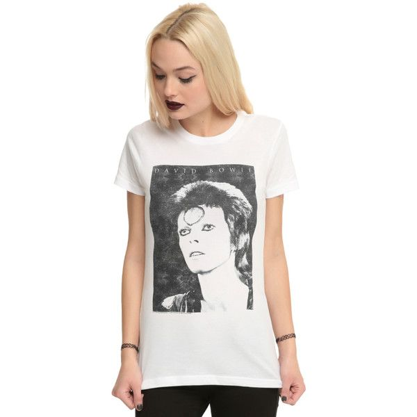 Hot Topic David Bowie Ziggy Stardust Girls T-Shirt ($21) ❤ liked on  Polyvore featuring plus size women's fashion, plus size clothing, plus size  tops, ...