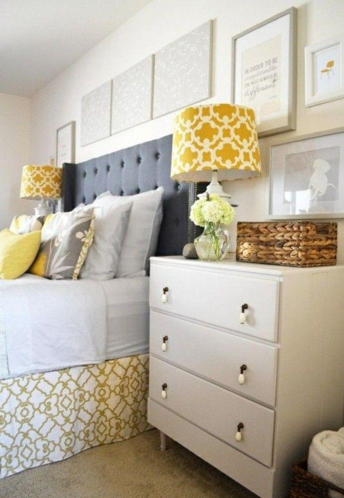 deko tipps grau gelb weisser nachtschrank bilder blumen kissen - gelbe dekowand blume fr wohnzimmer