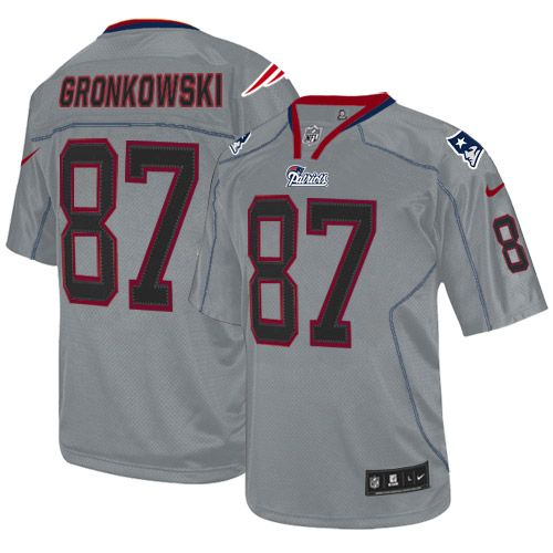 Mens Nike New England Patriots  87 Rob Gronkowski Elite Lights Out Grey NFL  Jersey ba713dedb