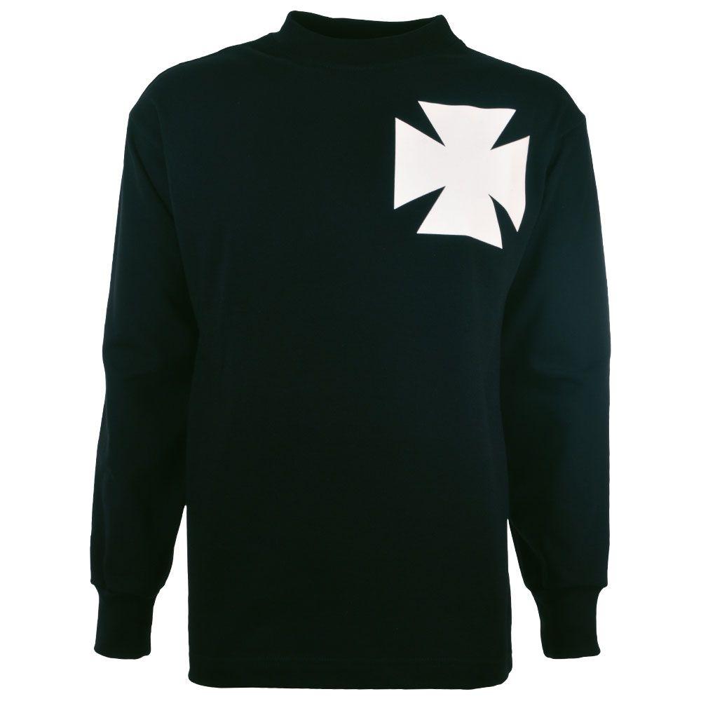 Black t shirt white cross - Gorton Fc 1884 Manchester City Retro Football Shirt