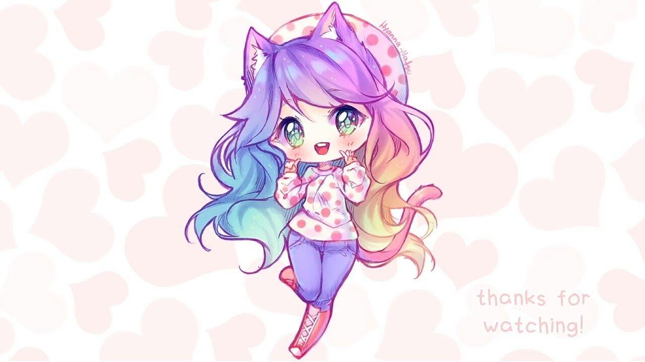Rainbow Cat Cake Chibi Girl Cute Art Chibi Cute Art Styles