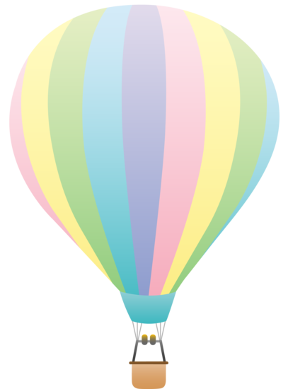 Pastel rainbow hot air balloon