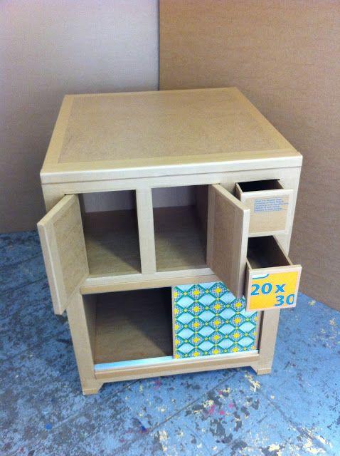 commode en carton meuble en carton case et tiroirs cr ation sur mesure fabriqu marseille. Black Bedroom Furniture Sets. Home Design Ideas