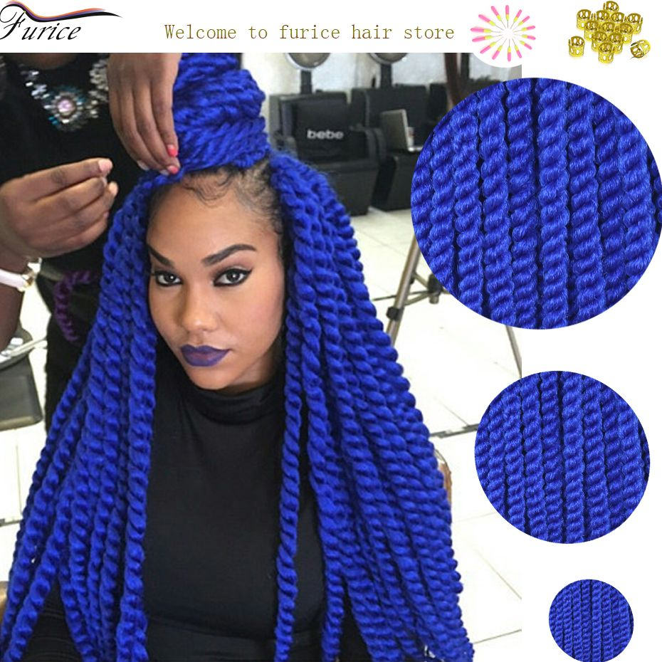 Blue Braiding Hair Havana Mambo Twist Hair Extension Crochet Twist Braids 2x Havana Mambo Twist ...
