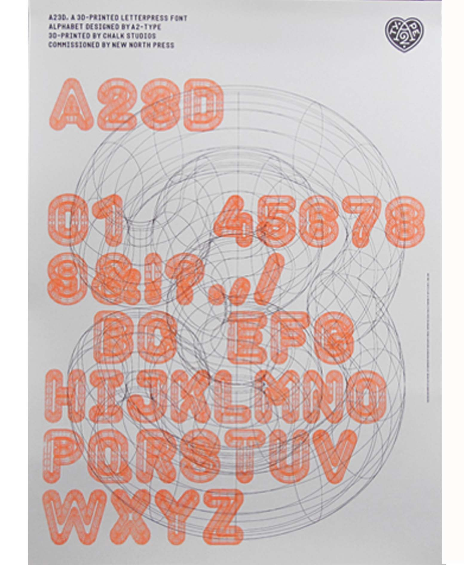 'A23D Specimen Poster - Orange' the limited edition artwork by artist New North Press. Available to buy online at Nelly Duff.