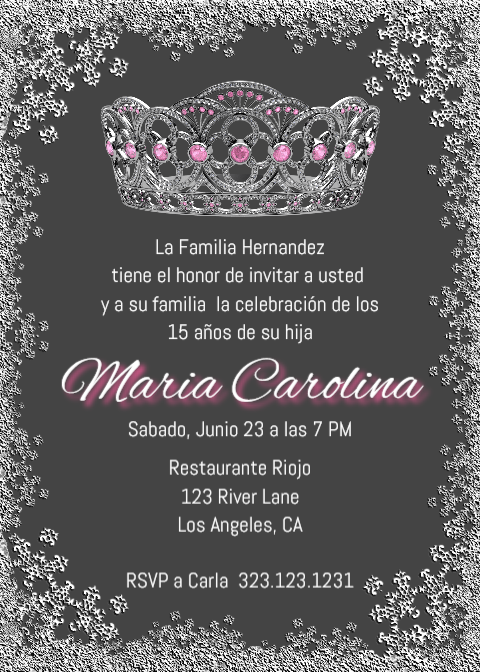 graphic relating to Printable Quinceanera Invitations named Quinceañgeneration Corona Invitation, English Quince Spanish