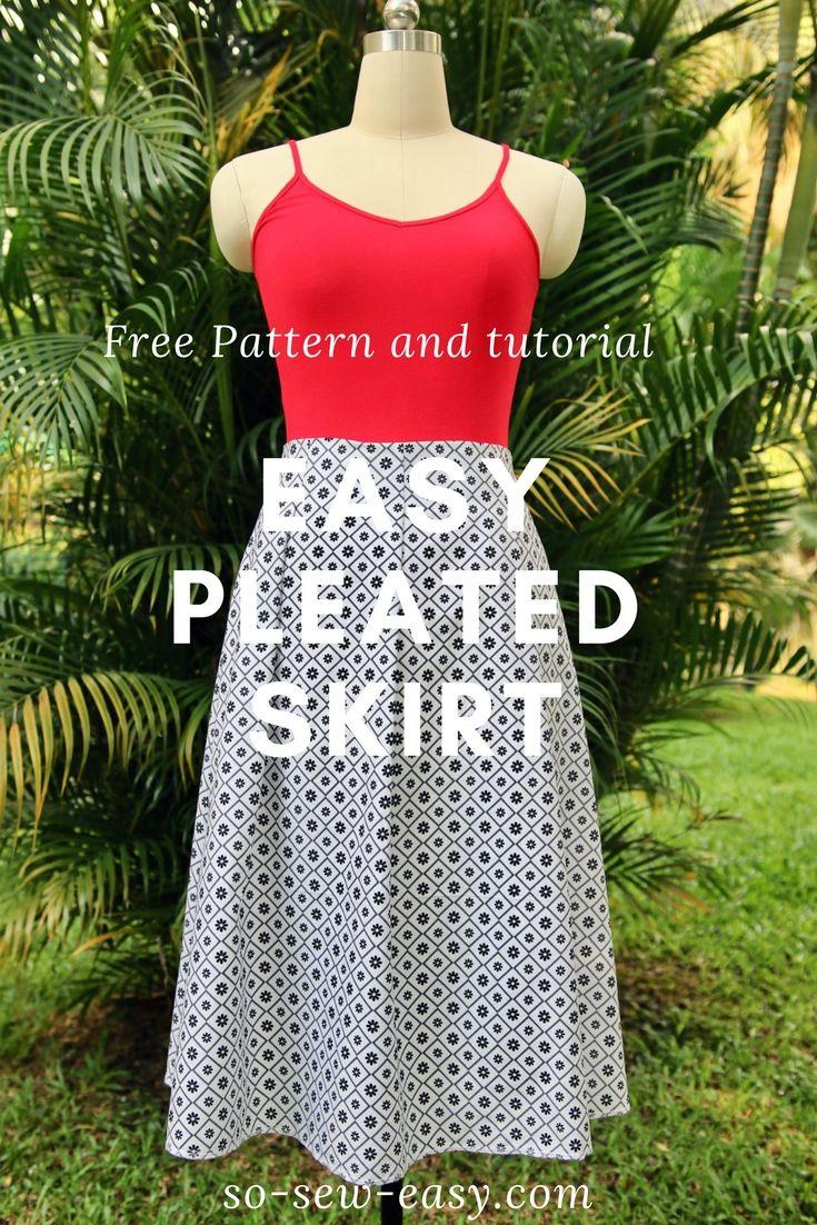 Easy pleated skirt pattern, FREE sew-along: Part 1 | Skirt pattern ...