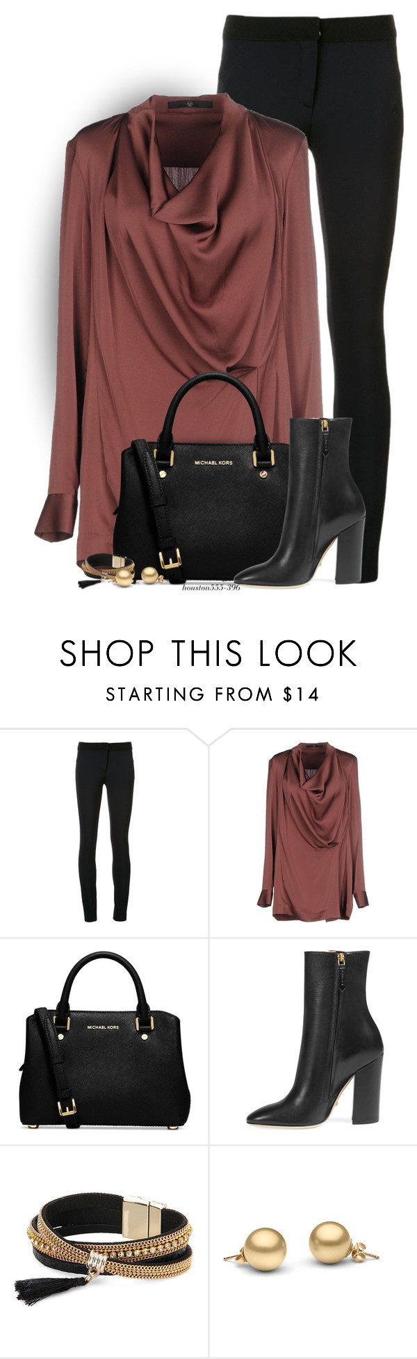 """""""Drape Neck Blouse"""" by houston555-396 ❤ liked on Polyvore featuring Veronica Beard, SLY 010, Michael Kors, Gucci and Simons"""
