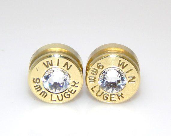 Bullet Earrings. April Birthstone. Diamond . 9mm Luger ...