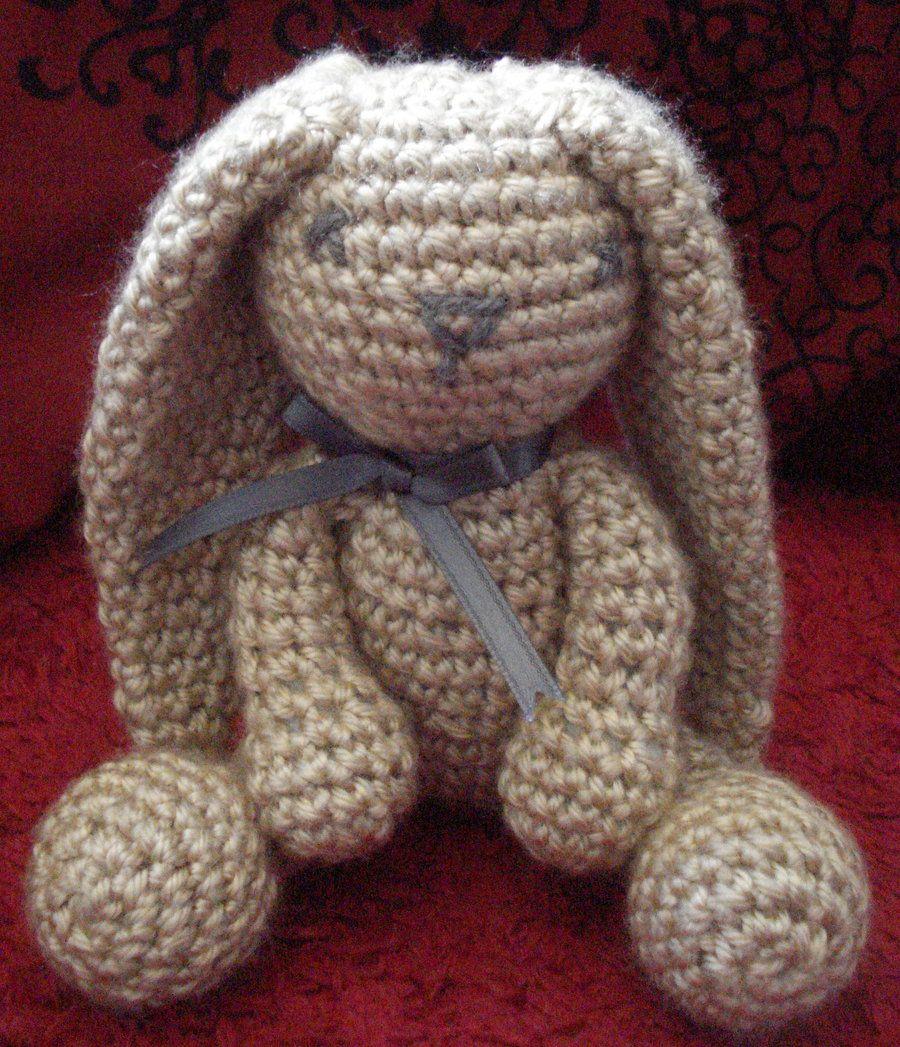 Handmade Crochet Doll Cute Rabbit Doll On White Background ... | 1047x900