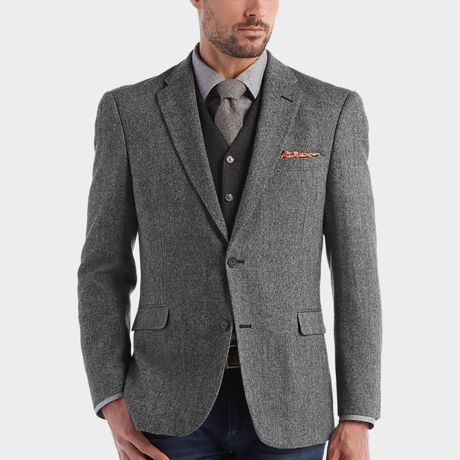 Buy a Tommy Hilfiger Black & White Tweed Slim Fit Sport Coat and ...
