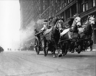 Chicago Historic Photography - Horse Drawn Fire Truck on Michigan Avenue mid 1920s. My grandmother talked about her joy at chasing them down the streets but that was in the 19 teens