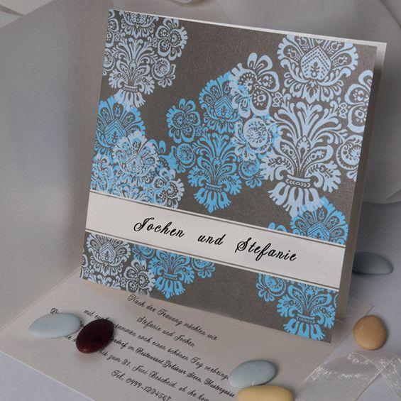 Klassische Blaue Ornamenten Hochzeitskarte Kp217 Wedding Cards