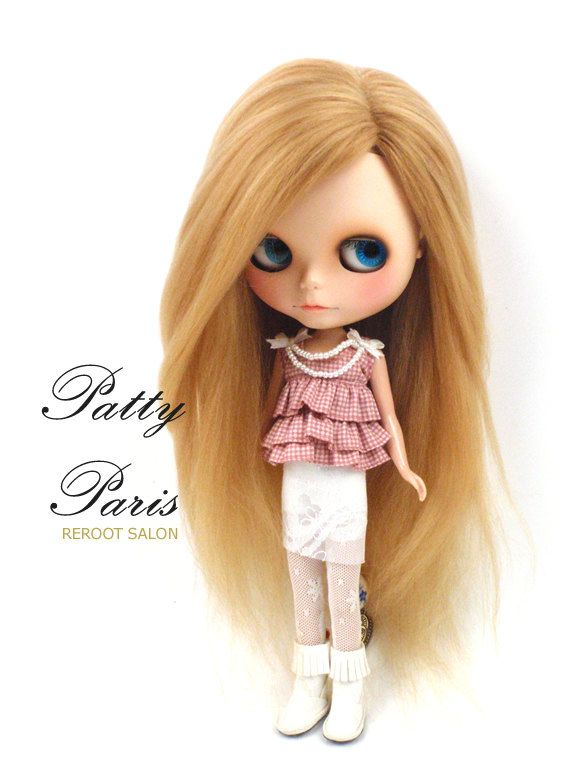 Gorgeous Reroot Scalp Nature Blonde suri Alpaca for Blythe doll 12-13 inches long via Etsy