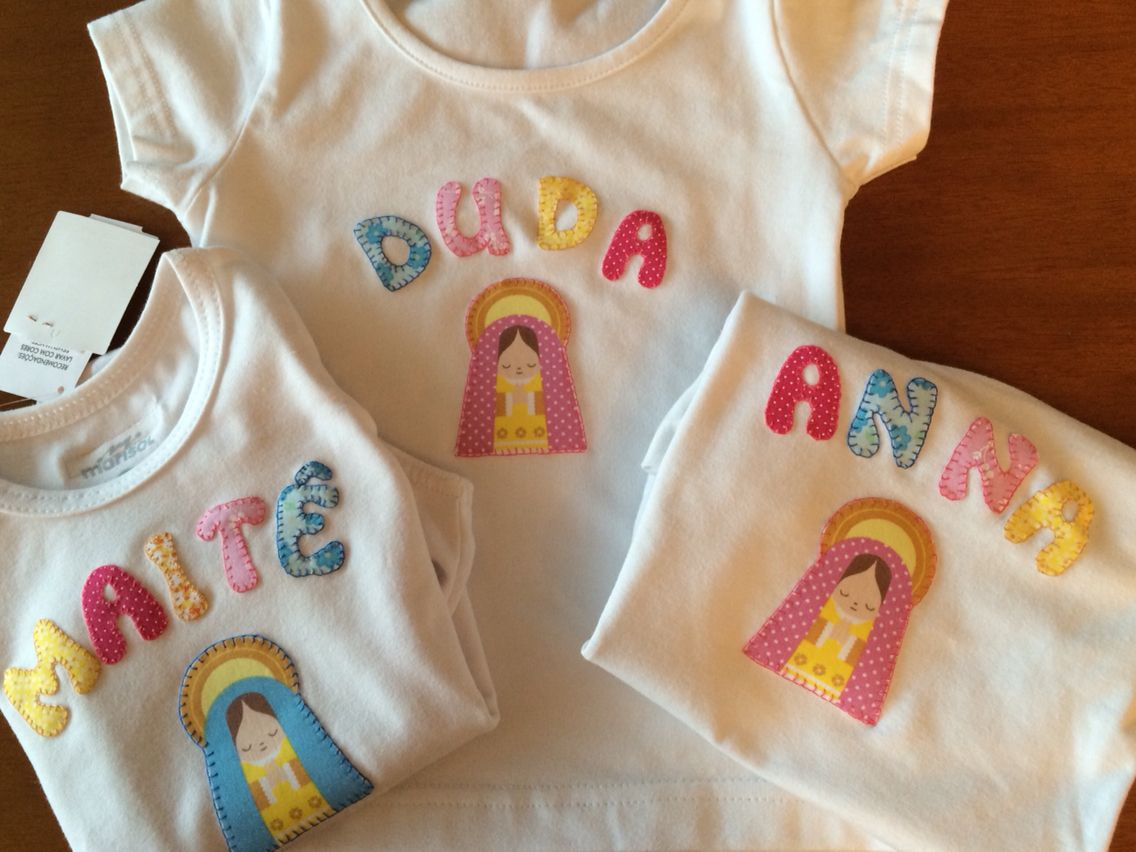 Camisetas com apliquês de Nossa Senhora