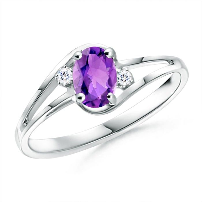 Angara Oval Amethyst Diamond Engagement Ring in White Gold