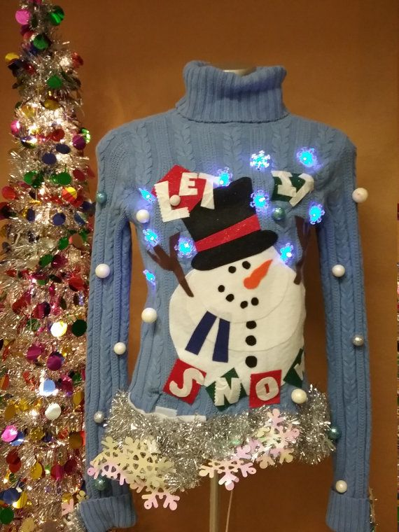 ugly christmas sweater lights up snowman sweater by thecostumestop