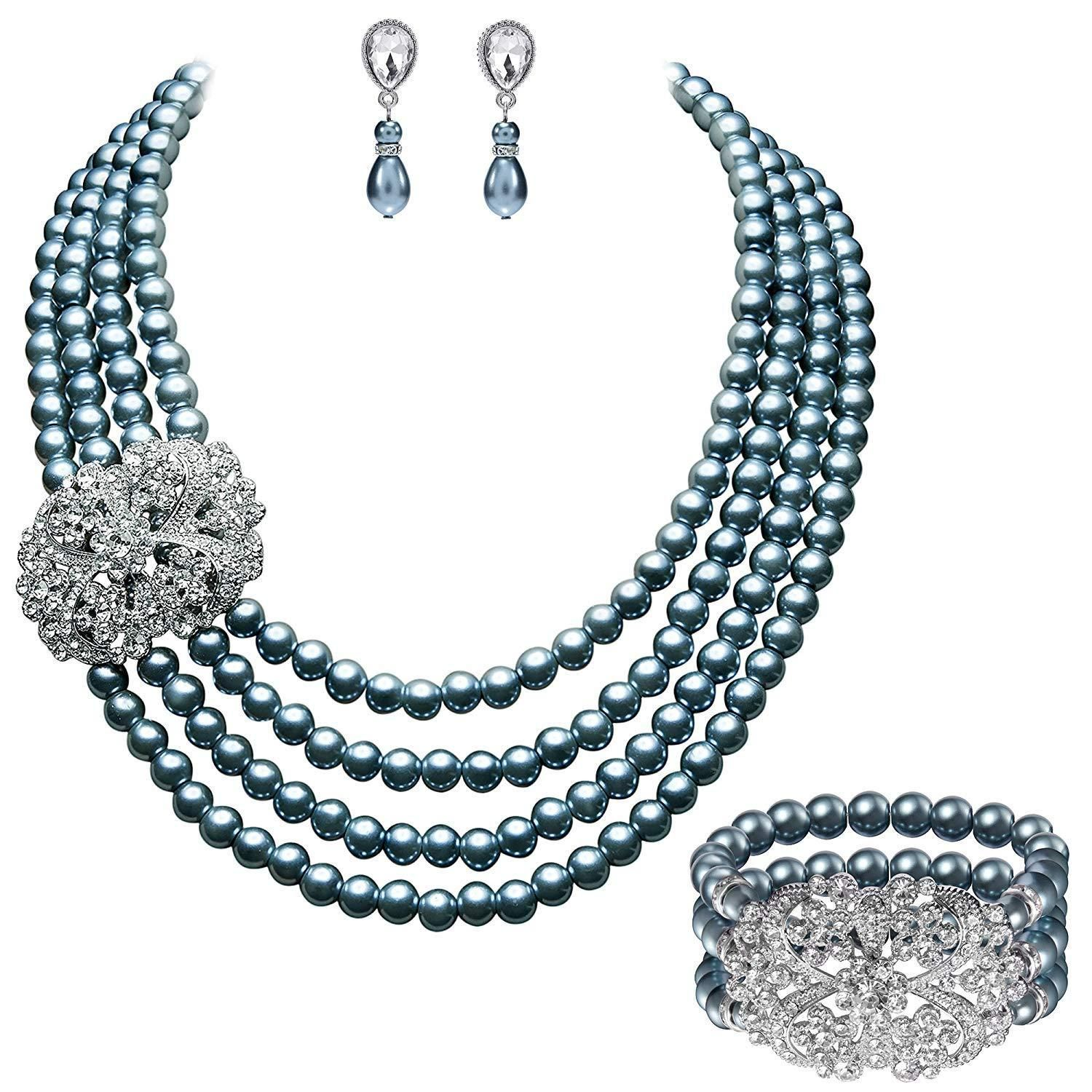 3fc838ae4 1920s Vintage Gatsby Bridal Multilayer Pearl Necklace Earrings Jewelry Set  with Brooch