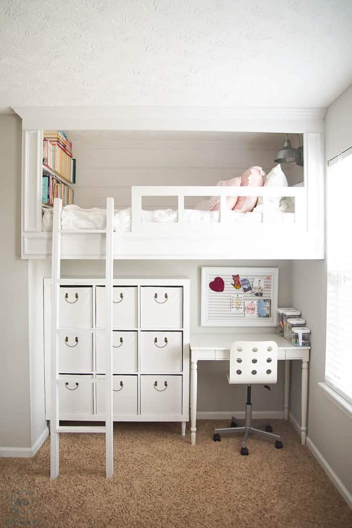 Girls Bedroom With Loft Bed And Under Bed Storage And Desk Girls Bedroom With Loft Bed Girls Loft Bed Loft Beds For Teens