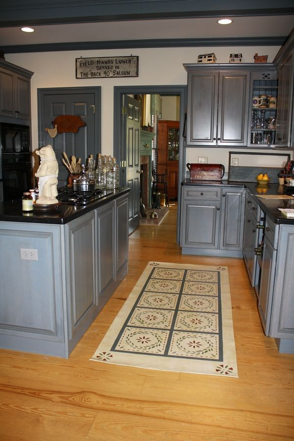 Love....great Floor Cloth And Beautiful Blue Cabinets