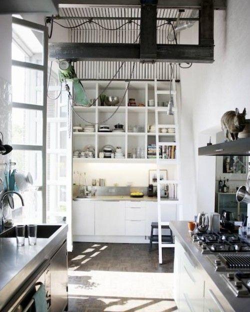 White Metallic High Ceiling Kitchen Modern Kitchen Design Living Room And Kitchen Design Interior Design Kitchen
