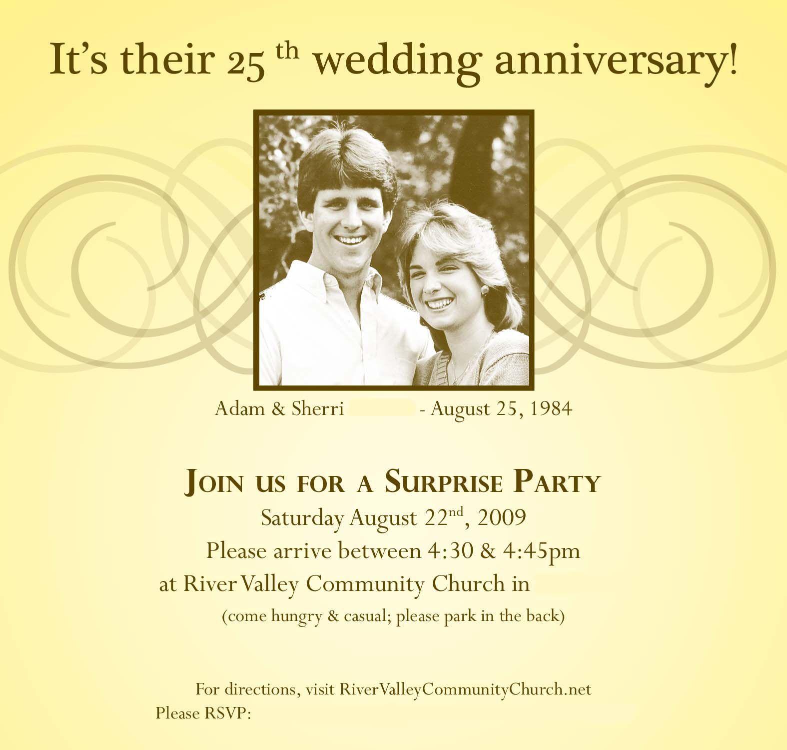 25th wedding anniversary surprise party invitations | wedding ...