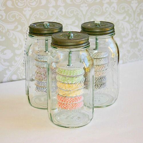 Reuse mason jars in creative useful ways jar twine for Craft ideas for empty jars