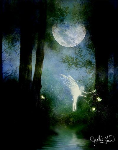 This might be my fave from this artist so far. Captivates my heart with the forest, water, moon, and fairies. :)