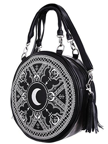 New Alchemy Gothic Icon Round Black PU Purse Shoulder Bag Handbag Designed In UK