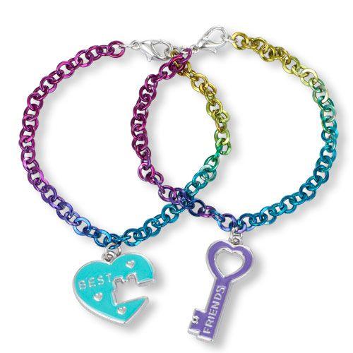 Girls Best Heart And Friends Key Charm Bracelet Set Multi