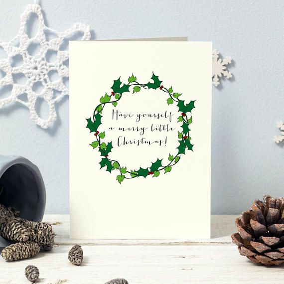 5 hand drawn holly ivy wreath christmas card designs each with a