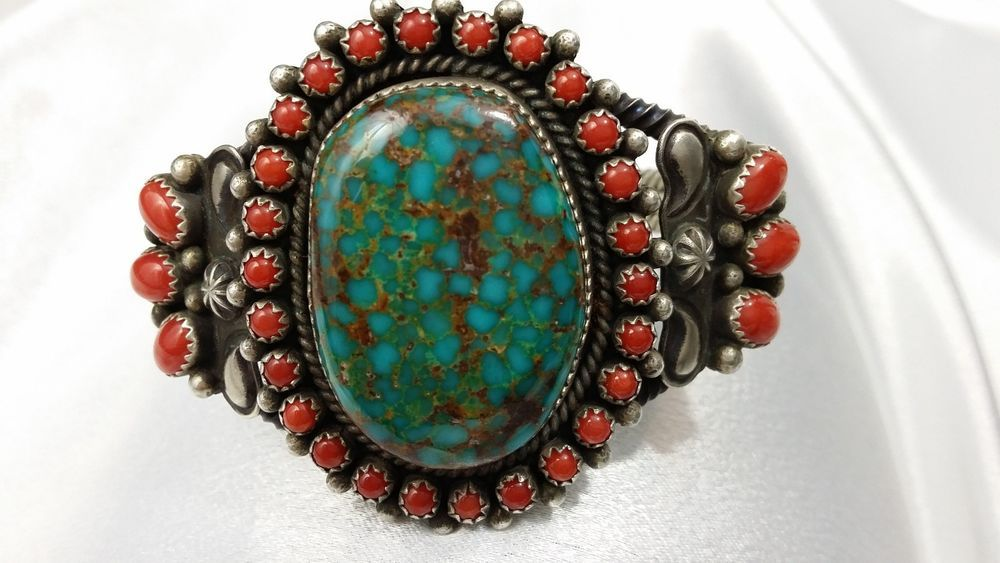 Native American Navajo Jewelry Sterling Silver Turquoise Coral Bracelet!