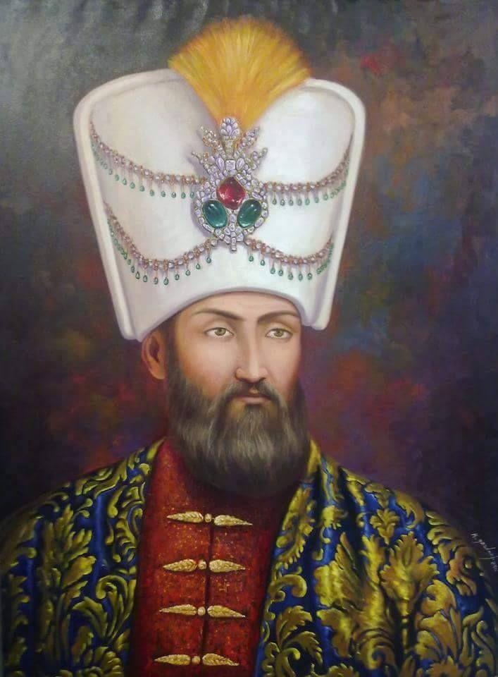 لوحة فنية للسلطان العثماني سليمان القانوني هو سليمان خان الأول بن سليم خان الأول بالتركية Suleyman كان عاشر السلاطي Ottoman Empire Turkish Art Empire