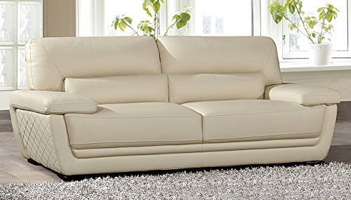 American Eagle Furniture Emma Collection Modern Top Grade Italian Leather  Living Room Sofa With Pillow Top