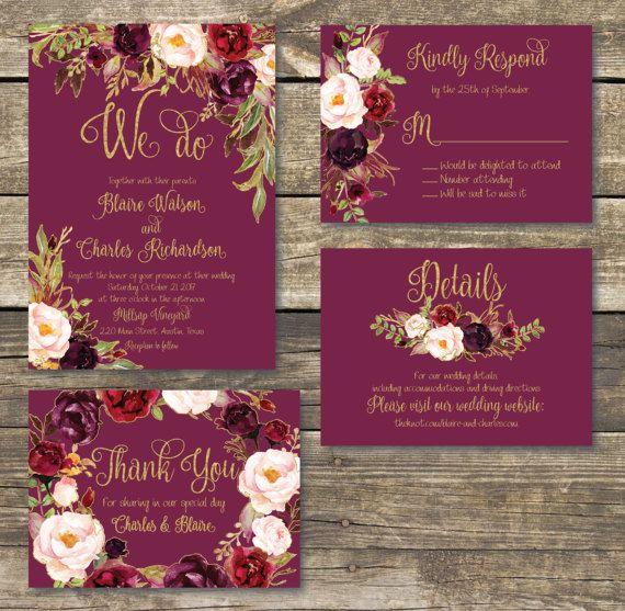 Rustic Burgundy Purple Floral Script Wedding Invitations: Wedding Invitation Template Printable / Editable / Marsala