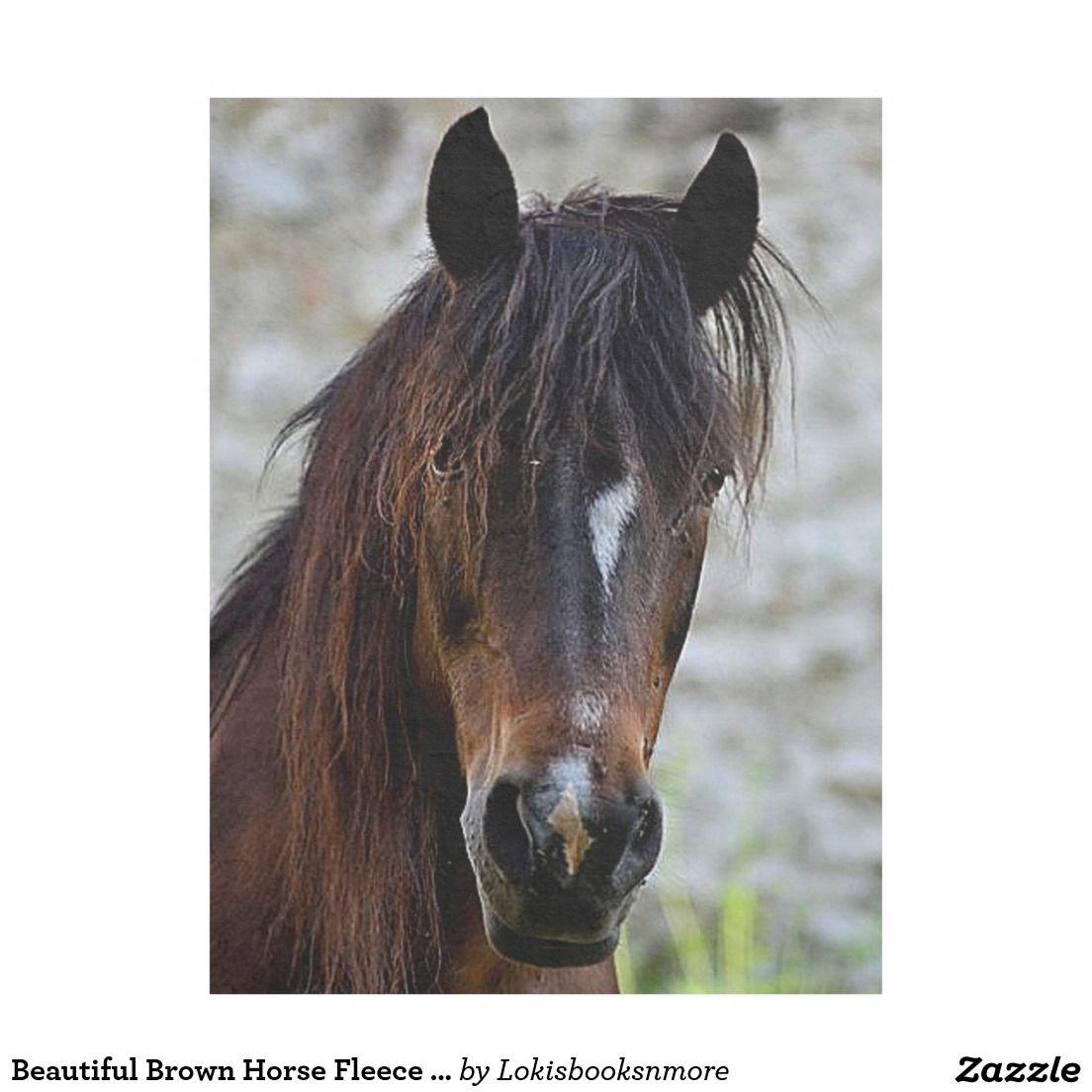 Beautiful brown horse fleece blanket horses