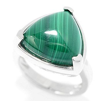 Gem Insider® Sterling Silver 15mm Trillion Shaped Gemstone Solitaire Ring