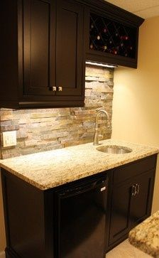 basement wet bar wall. Finally a pic of dark cabinets and light wall with the stone backsplash Like  This is one s I m