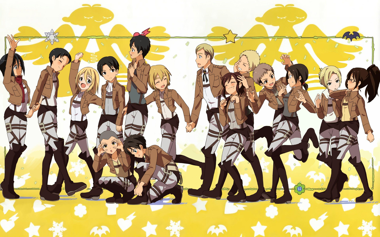 Everyone In Pre Chibi Version 3 Shingeki No Kyojin Aot Wallpaper 2880x1800 Attack On Titan Crossover Attack On Titan Attack On Titan Season