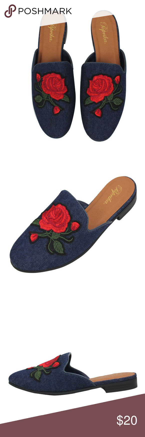 b836098bbf6 Blue Rose Embroidery Backless Slip On Loafer Mule Blue embroidery slip on  loafer. Model is