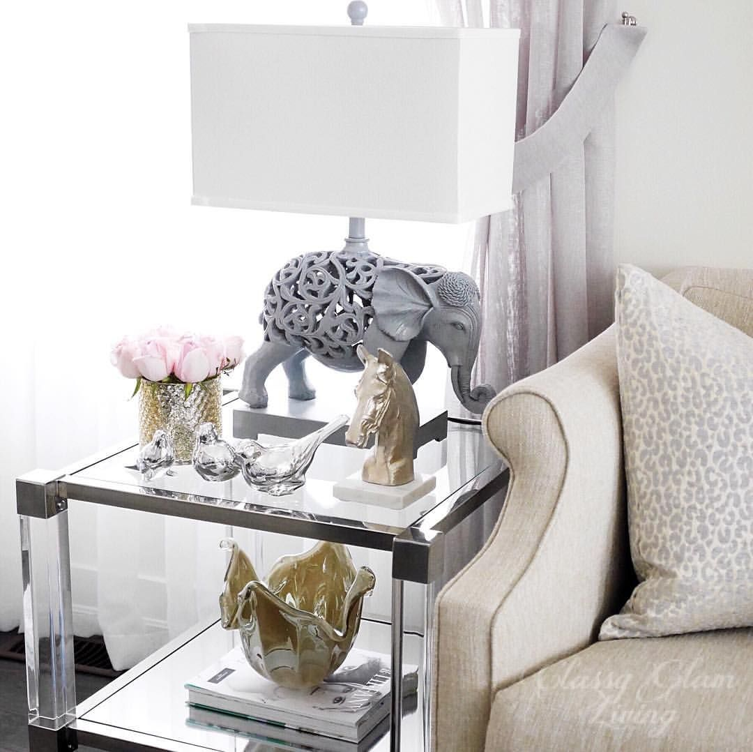 Living room decor | lucite side end table | side table styling ...