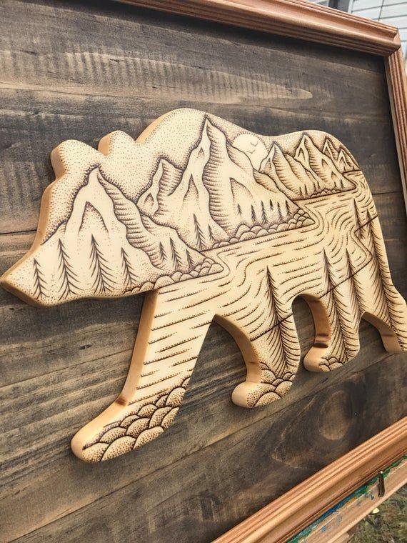 Hand made bear wood burning rustic cabin art